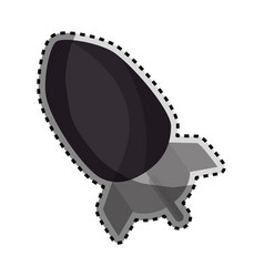 sticker monochrome silhouette with rocket icon vector image