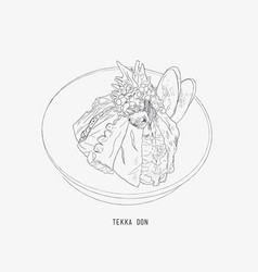tekka don shetch japanese food vector image
