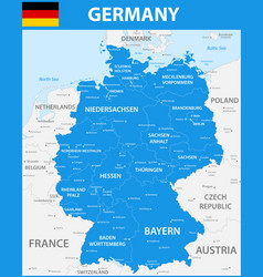 The detailed map of the germany with regions or vector