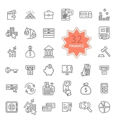 Thin Line Icons of Finance vector