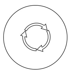 three circle arrows black icon in circle outline vector image