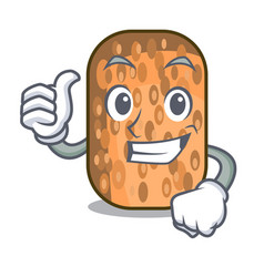 Thumbs up fried tempeh in bowl character wooden vector