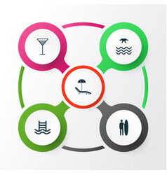 Tourism icons set collection of aperitif surf vector
