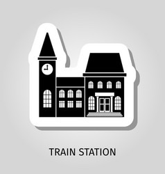 Train station black building sticker vector