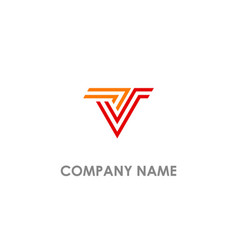 v initial stripe line logo vector image