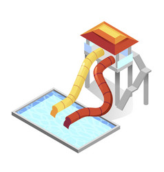 waterslides and swimming pool isometric icon vector image