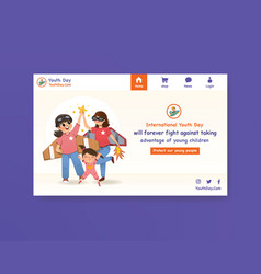 Website template with youth day design for social vector