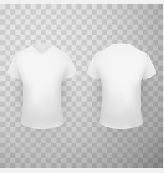 White t shirt front and back view realistic vector