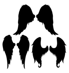wings silhouettes drawing black white set 8 vector image