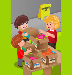 woman collecting clothing donations vector image