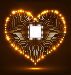 abstract neon electronic circuit board in shape of vector image
