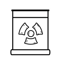 Line poster with radiation symbol of danger vector