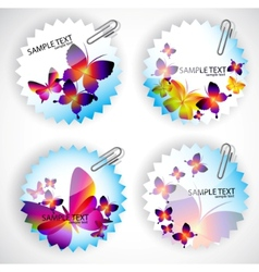 round sticker with butterflies vector image vector image