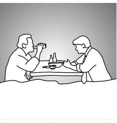 two businessmen drinking beer after work vector image