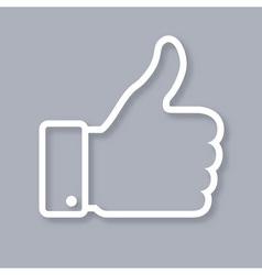 White contour of thumb up icon on gray background vector image