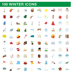 100 winter icons set cartoon style vector image