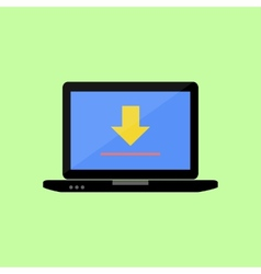 Flat style laptop with upload sign vector image