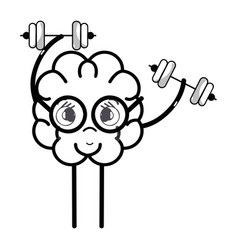 line icon adorable kawaii brain doing exercise vector image vector image