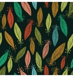Pattern with ornate feathers vector image