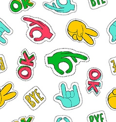 Retro 90s style hand sign patch seamless pattern vector image vector image