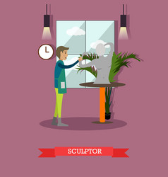 sculptor in flat style vector image vector image