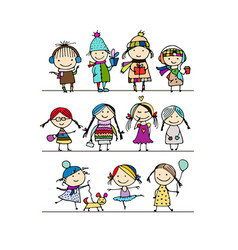 art children set sketch for your design vector image