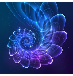 Blue abstract fractal cosmic spiral vector image vector image