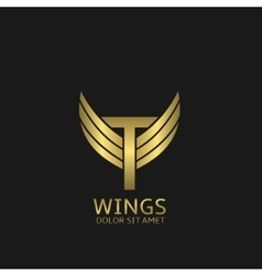 Golden T letter logo vector image vector image