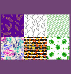 seamless pattern leaves nature vector image vector image