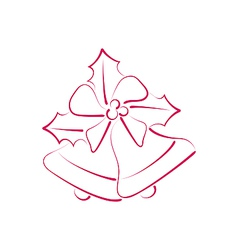 Sketch composition two Christmas bells with holly vector image vector image