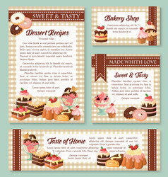 cake and bakery shop banner with pastry desserts vector image vector image