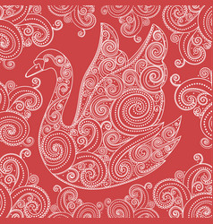 lace swan detailed vector image