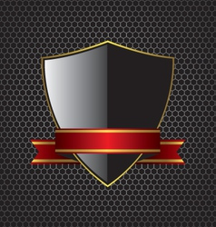 Metal textures and shield background vector image