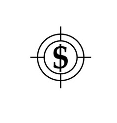 money target dollar icon vector image vector image