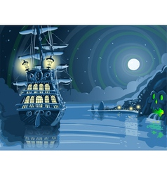 Nocturnal adventure island with pirate galleon vector