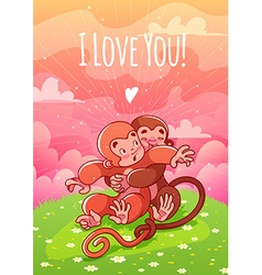 Two enamored monkeys hugging on the lawn vector image vector image