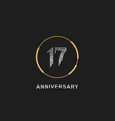 17 anniversary logotype with silver number vector