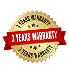 3 years warranty 3d gold badge with red ribbon vector