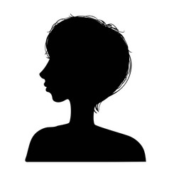 a silhouettes head girls vector image