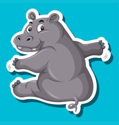 a simple hippopotamus sticker vector image