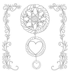 Adult coloring book a cute dream catcher image vector