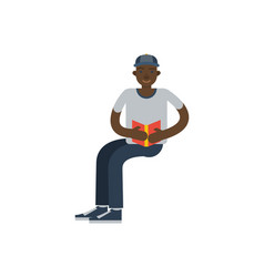 african boy reading book icon vector image
