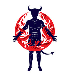 Athletic horned man surrounded a fireball of vector