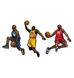 Basketball player set vector
