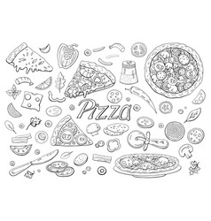 big italian pizza and pizza ingredients isolated vector image