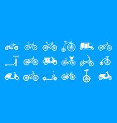 bike icon blue set vector image
