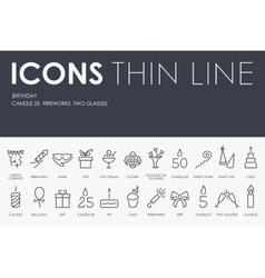 Birthday Thin Line Icons vector image