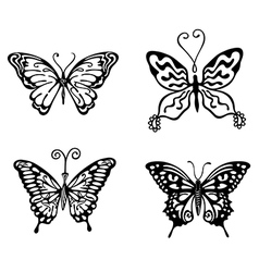 Black-white butterfly logo set vector