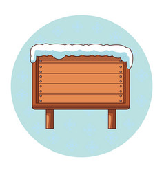 blank wooden sign with snow vector image