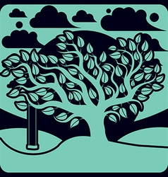 branchy tree with swing on beautiful cloudy spring vector image
